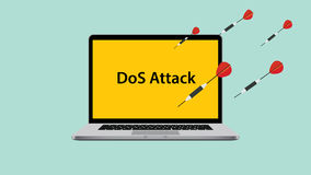 Ddos dos denial of service attack with laptop attacked. Vector illustration Royalty Free Stock Images