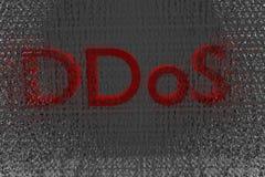 DDOS rouges sur un fond d'avertissement binaire 3d de Digital rendent Images stock