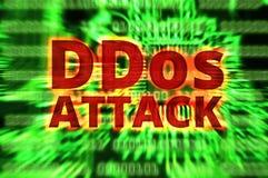 DDOS sur un avertissement binaire de Digital au-dessus de carte électronique Image stock