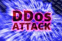DDOS sur un avertissement binaire de Digital au-dessus de carte électronique Images libres de droits
