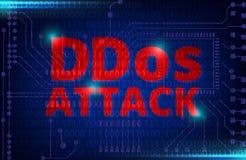 DDOS sur un avertissement binaire de Digital au-dessus de carte électronique Photos stock