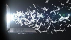 DDoSaanval op de Server van het gegevenspakhuis smartphone surft op wolk in hemel Stock Afbeelding