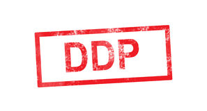 DDP in red rectangular stamp Stock Photos