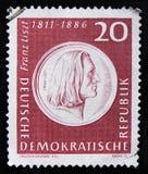 DDR德国邮票显示弗朗兹・李斯特,音乐家画象,大约1986年 免版税库存照片