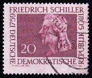 DDR德国邮票显示弗里德里希・席勒画象,大约1959年 免版税库存照片