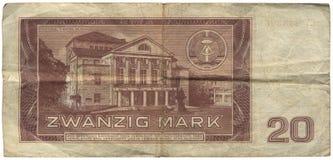 Ddr, het Bankbiljet van 20 Teken Stock Afbeelding