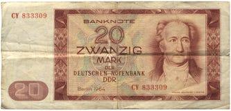 Ddr, het Bankbiljet van 20 Teken Royalty-vrije Stock Afbeeldingen