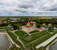 DDrone Aerial image of defence towers of Kuressaare Fortress with weather vane. Spring. Medieval fortification in. Saaremaa island, Estonia, Europe. Photo taken stock image