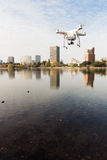 A dDrone Quadcopter Hoovers over Lake Merritt Oakland California Stock Photos