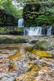 Ddwl Isaf waterfall on the Nedd Fechan. Ddwl Isaf waterfall (Lower Gushing Fall) on the Nedd Fechan River along the Elidir trail in South Wales UK Royalty Free Stock Photography