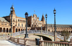 de西班牙护城河广场塞维利亚西班牙 库存照片