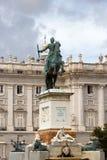 de马德里oriente宫殿palacio生动描述皇家采取的游人 免版税库存图片