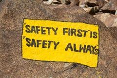 De 'veiligheid eerst 'is 'safity altijd ' royalty-vrije stock foto
