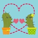 De älska paren av kaktuns Royaltyfri Illustrationer