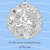 De älskvärda hand-drog illustrationerna för ` s för nytt år royaltyfri illustrationer