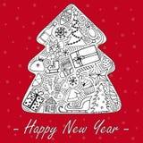 De älskvärda hand-drog illustrationerna för ` s för nytt år vektor illustrationer