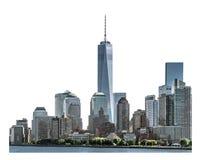 De één die World Trade Center en high-rise bouw met het knippen van weg wordt geïsoleerd Stock Afbeeldingen