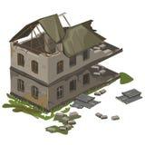 De één two-storey vernietigde bouw, geïsoleerde vector vector illustratie