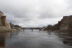 De ï ¿ ½ Vriendschap Bridgeï ¿ ½ over de Narva-Rivier Royalty-vrije Stock Fotografie