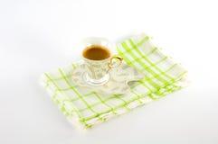 ¡ De Ð acima do café em uma bandeja Fotografia de Stock