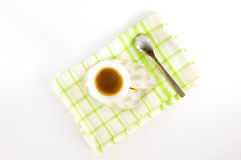 ¡De Ð para arriba del café en un disco Fotos de archivo