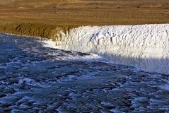 De övreguld- nedgångarna Gullfoss vattenfall, Island. Arkivbilder