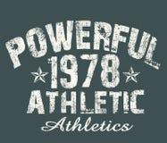 de 'krachtige atletische 'typografie van 1978, de druk van het T-stukoverhemd stock illustratie