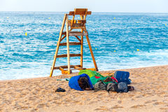 de 3月tossa 海滩的嬉皮 免版税库存图片