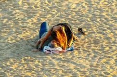 de 3月tossa 海滩的嬉皮 图库摄影