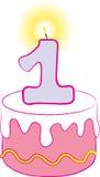 de 1st Roze Cake van de Verjaardag Royalty-vrije Stock Fotografie