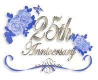 de 25ste Uitnodiging van de Verjaardag van het Huwelijk Stock Fotografie