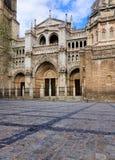 托莱多,西班牙大教堂门面  库存照片