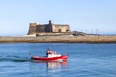在阿雷西费,兰萨罗特岛,加那利群岛防御卡斯蒂略de圣加百利 免版税库存照片