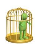 De 3d persoon - marionet, waard in een gouden kooi Stock Afbeelding