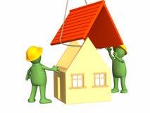 De 3d werkende marionetten die het huis bouwen Stock Fotografie