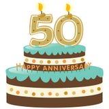 de 50ste Cake van de Verjaardag met Kaarsen Royalty-vrije Stock Fotografie
