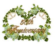 de 50ste Klimop en de Hydrangea hortensia van de Verjaardag Royalty-vrije Stock Afbeeldingen