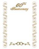 de 60ste grens van de verjaardagsuitnodiging Royalty-vrije Stock Afbeelding