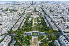 чемпион de повреждает взгляд Эйфелевы башни Стоковое Изображение RF