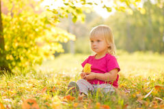 De aanbiddelijke baby zit op gras met blad onder bomen Stock Foto's