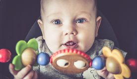 De aanbiddelijke close-up van de babyjongen royalty-vrije stock foto