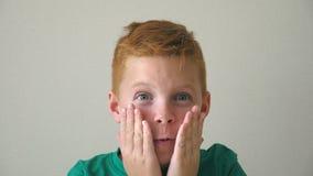De aanbiddelijke jongen onderzoekt camera met emoties en gevoel bij gezicht Portret van knappe gelukkige jongen met sproeten binn stock videobeelden