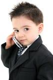 De aanbiddelijke Jongen van de Baby in Kostuum op Cellphone royalty-vrije stock foto's
