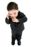 De aanbiddelijke Jongen van de Baby in Kostuum op Cellphone royalty-vrije stock afbeelding