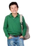 De aanbiddelijke student kleedde zich in groen stock fotografie