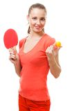 De aanbieding van de vrouw om pingpong te spelen Stock Fotografie