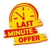 De aanbieding van het laatste ogenblik met klokteken, gele en rood getrokken etiket Stock Afbeelding