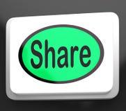 De aandeelknoop toont het Delen van Webpagina of Beeld Stock Foto's