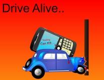 De aandrijving Levend, als Texting kan doden, illustratie. Royalty-vrije Stock Afbeeldingen