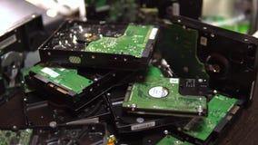 De aandrijving van de harde schijf Gedemonteerde HDD 4K stock footage